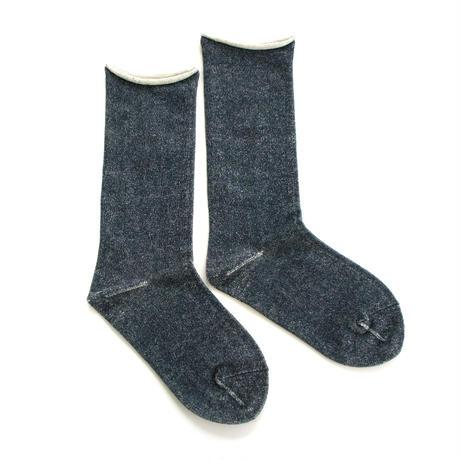 【ギフトに人気】ペルーコットンのゴムなし靴下(ユニセックス) ネイビー_SO005-NV
