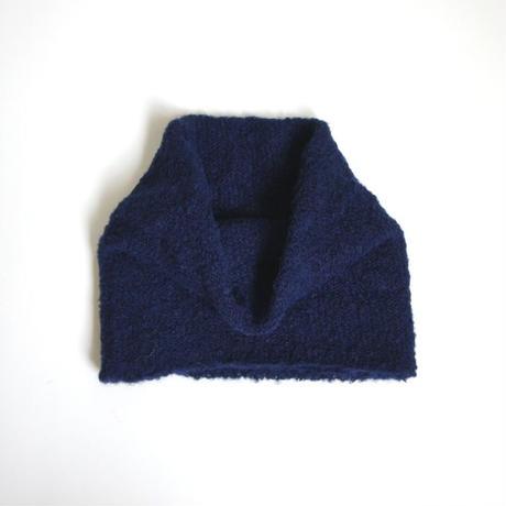 アルパカブークレの手編みネックウォーマー ネイビー_NW003-NV