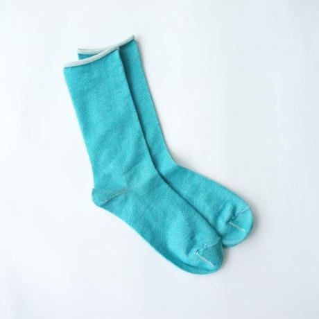 アルパカシルクのゴムなし靴下(ユニセックス) ターコイズブルー_SO006-BL