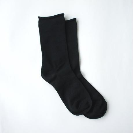 【秋冬の準備に】アルパカシルクのゴムなし靴下(ユニセックス) ブラック_SO006-BK