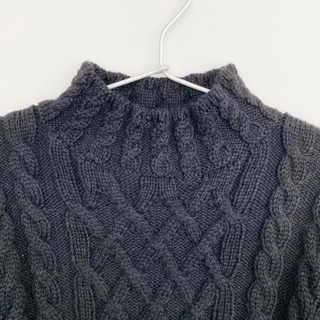 アルパカ手編みケーブルセーター_OC009