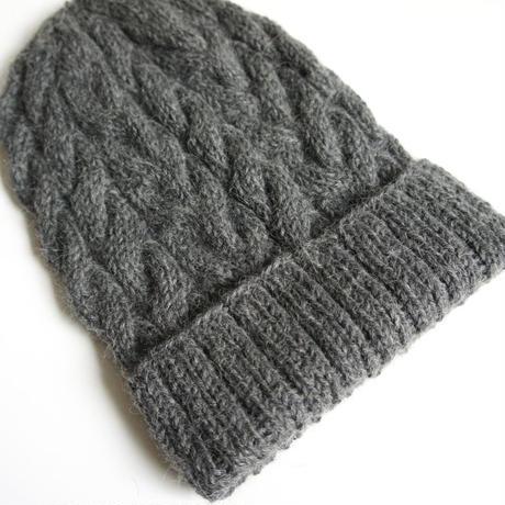 ケーブル編み帽/グレー ベビーアルパカ100%_CP001-LG