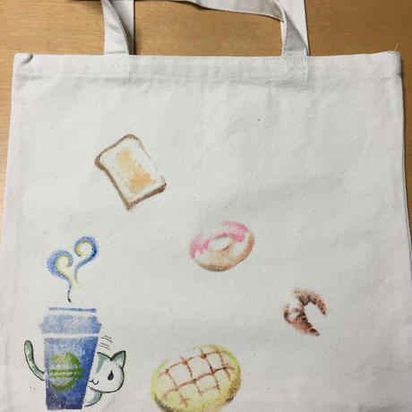 キャンパス地トートバッグ(ねことかぱんとか柄)