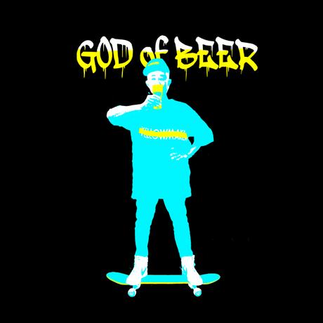 """🔺完全予約販売【 9月30日まで】 """"GOD of BEER"""" Big silhouette T-shirts【Blue】"""