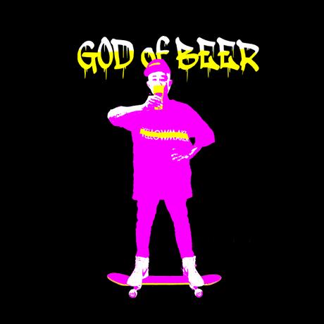 """🔺完全予約販売【 9月30日まで】 """"GOD of BEER"""" Big silhouette T-shirts 【Pink】"""