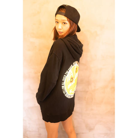 【 Back 】MAKEY SMILEY[ Yellow ] / Double zip hoodie  [  Black ]