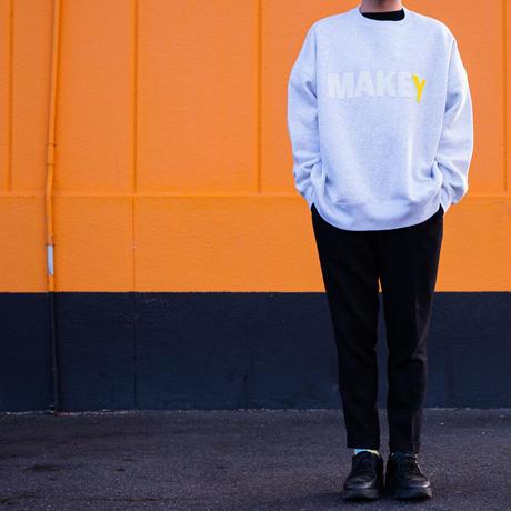 "WHITE ""MAKEY LOGO"" Big silhouette Sweatshirt【Gray】"