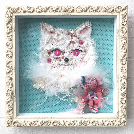 """刺繍 ビーズ 猫   """"Miaou Miaou..Blue/Pink.."""""""