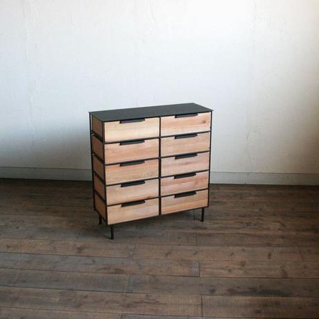 アイアンと木箱のドロワー2列5段【サイズオーダー可】