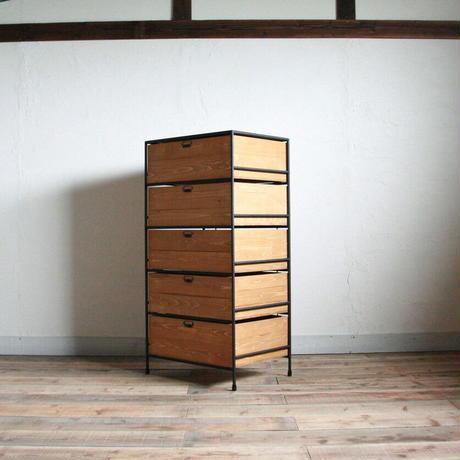 アイアンと木箱のドロワー 1列5段  #2