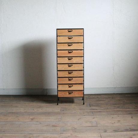アイアンと木箱のドロワー 1列10段