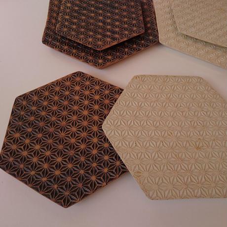 麻模様の陶板  M    Henp patterm ceramics