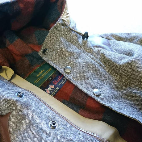 makufuri  Mix Tweed Down Parka 〈Beige×Brawn〉