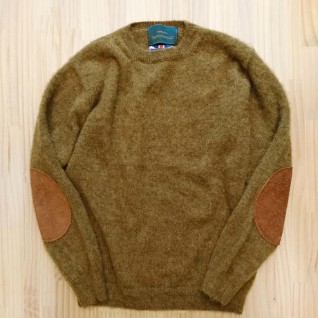 makufuri PLAIN SHAGGY DOG CREW KNIT<mustard>
