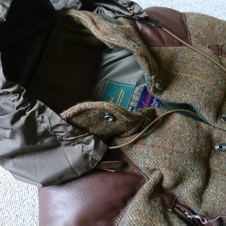 makufuri Tweed down Vest〈Green×Brawn-Check〉