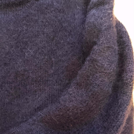 makufuri PLAIN SHAGGY DOG CREW KNIT<navy>
