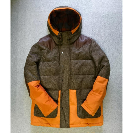 makufuri  Mix Tweed Down Parka 〈Orange×D-brawn〉