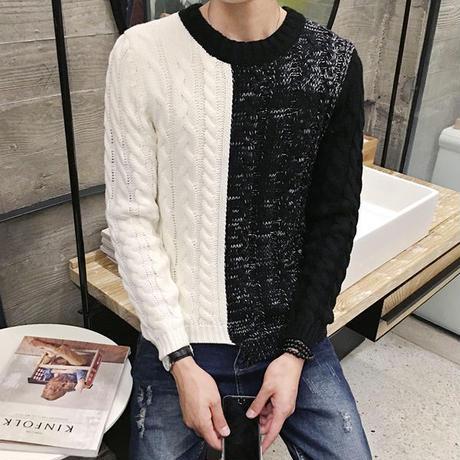 ケーブルニット クルーネックセーター バイカラー ブラック&ホワイト