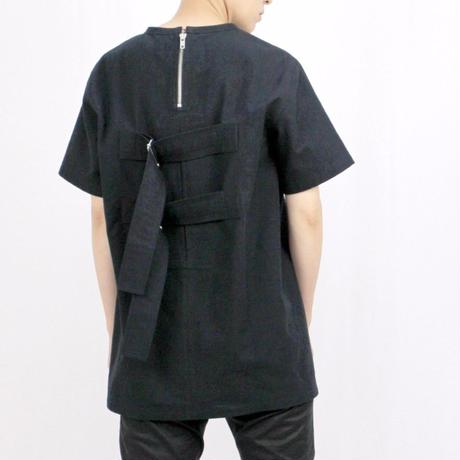 PETHIDINE IN PEARL ボックスプリーツ ベルトTシャツ ブラック
