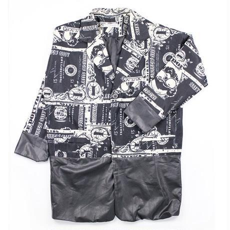 コミックロゴ柄 フェイクレザー切替 オーバーサイズジャケット