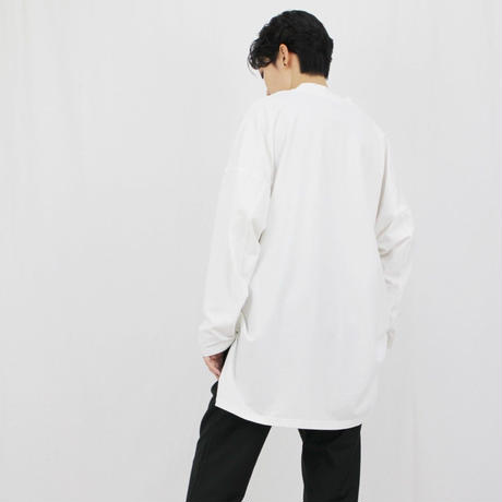 Vネック 長袖 ルーズヘムTシャツ ホワイト