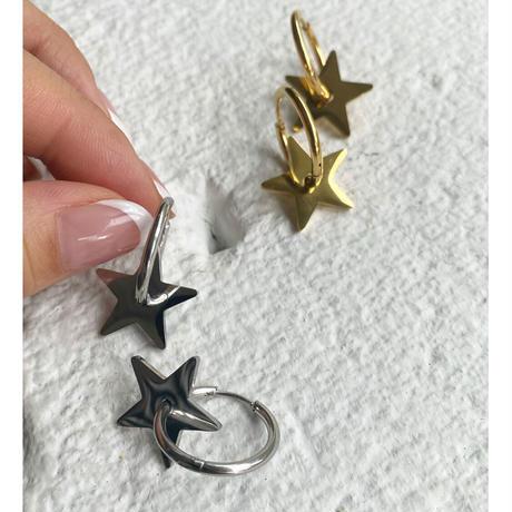 フープスター★ピアスgold and silver