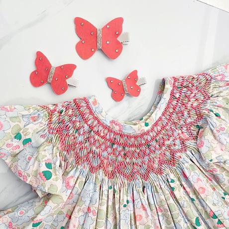 butterfly clip バタフライクリップ Sサイズ neon coral  ネオンコーラル スワロフスキー 単品