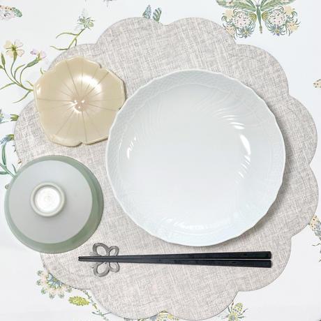 【送料無料】スカラップ ランチョンマット PVC ピンクグレー 単品