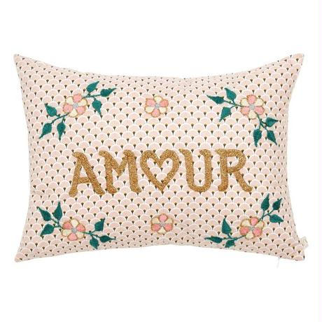 CSAO サオ 手刺繍クッション AMOUR ピンク from フランス