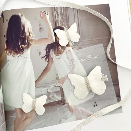 butterfly clip dot mignon white 単品