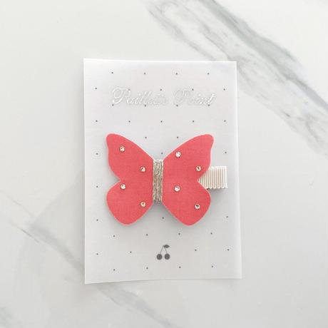butterfly clip バタフライクリップ Lサイズ neon coral  ネオンコーラル スワロフスキー 単品