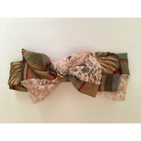 Plaid Lace Ribbon/Beige