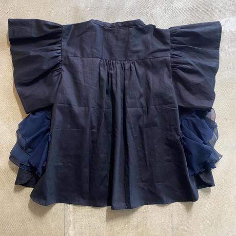 nunuforme / ダブルフリルブラウス nf15-552-001A Black  2(160/F)