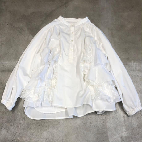 nunuforme / ダブルフリルブラウスnf14-546-001A White F(WOMENS)