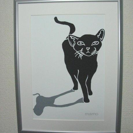mamoart - 黒いネコ A4サイズ 額入り
