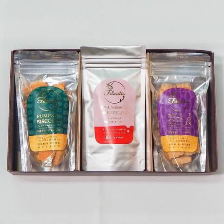 有機紅茶ダージリン・小麦のビスケット ギフトセット(にんじん・かぼちゃ・さつまいもの内2個)
