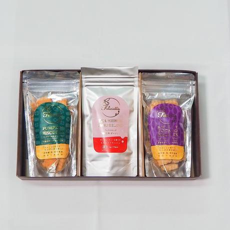 有機紅茶ダージリン・小麦の恵みギフトセット(にんじん・かぼちゃ・さつまいもの内2個)