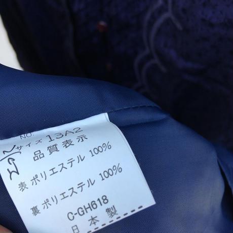 レディース古着 レトロワンピース(ネイビー)[89]