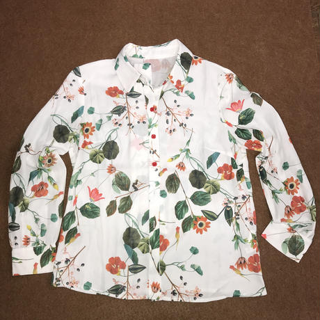 レディース古着 レトロ 花柄ブラウス[97]あ