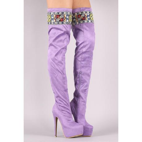 lavender オーバーニーブーツ