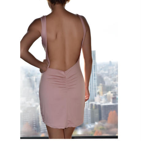 Pink bunny backless dress