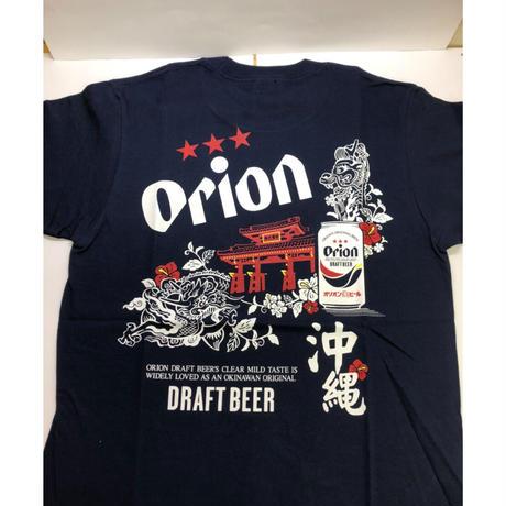 沖縄★オリオンビール★守礼の門と龍Tシャツ 紺