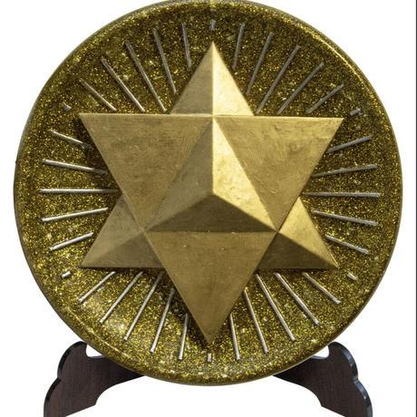 3Dマカバ オルゴナイト(ゴールド) スタンド付き《ボヘミアンオルゴナイト》約15.5×1cm