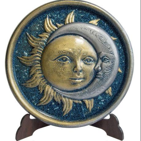 太陽と月 オルゴナイト スタンド付き《ボヘミアンオルゴナイト》約15.5×1cm