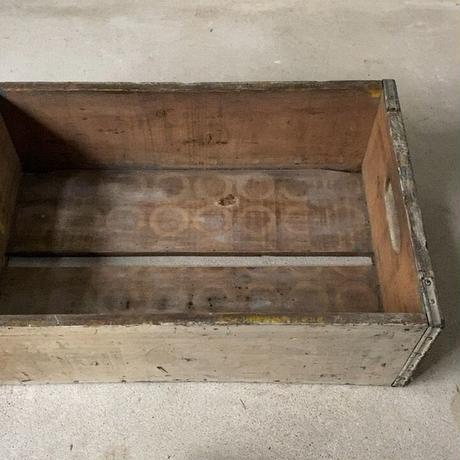 ヴィンテージ牛乳木箱 ミルクボックス 白塗装 好エイジング 片岡乳業 古い木箱 道具箱 ガタ.グラ無し完品