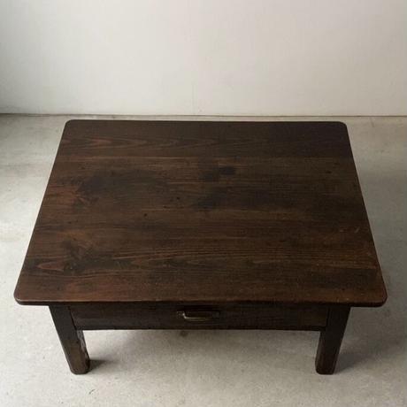昭和期 濃茶の文机  1杯引出し 杉材三枚天板  真鍮摘み 木製ヴィンテージローテーブル ちゃぶ台 座卓  メンテナンス済