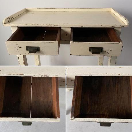 アンティーク コンソールテーブル 引出し付化粧テーブル 白塗装 美エイジング  ヴィンテージ家具 古い机  良品