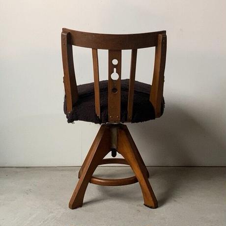 アンティーク 木製ドクターチェア 古い回転椅子 ブラック 木製無垢材 ヴィンテージスツール