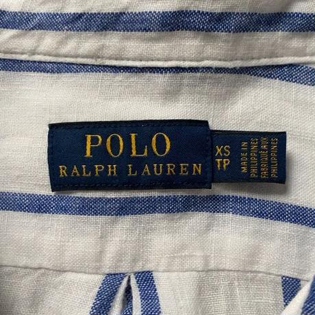 POLO RALPH LAUREN ポロ ラルフローレン 2020年製 クロップドリネンシャツ 白/青ストライプ ドロップショルダー size XS  USED 美品