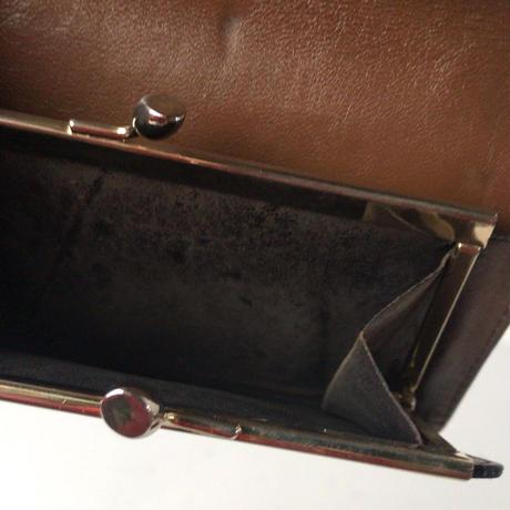 LANVIN ランバン  2つ折りコンパクトガマ口財布 ウォレット  レザー ブラウン/ゴールド金具  ヴィンテージ オールドランバン